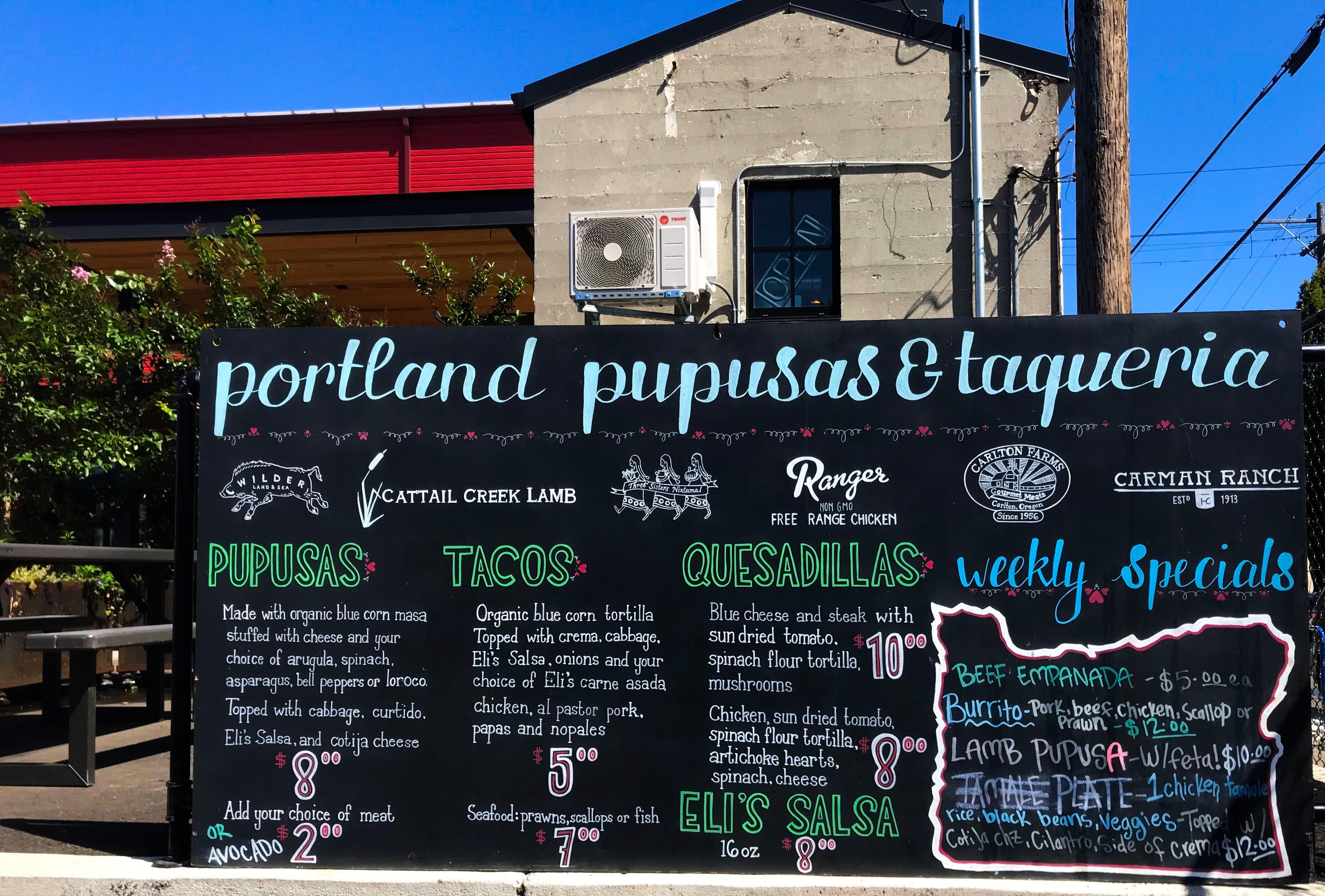 Portland Pupusa menu