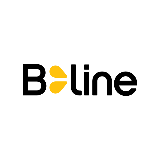 B-line logo, yellow and black