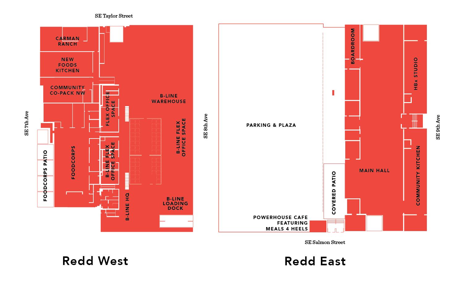 A graphical map in red showing the Redd on Salmon Street campus