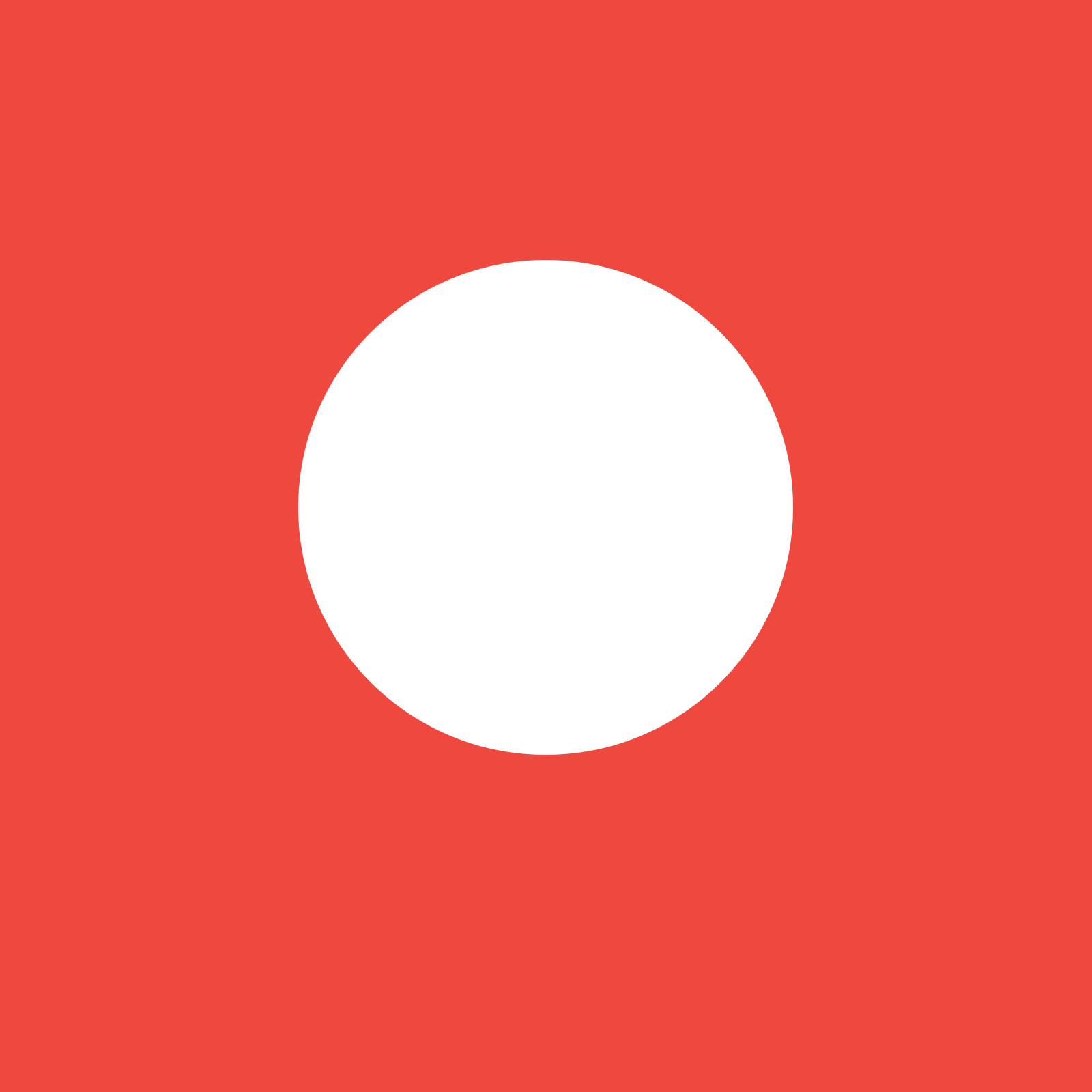 A white circle on a red background